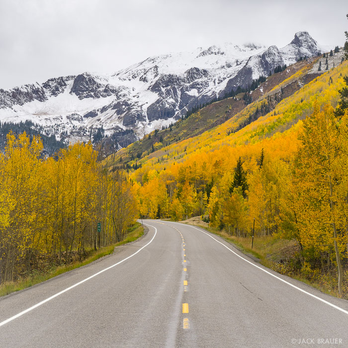 Colorado,Red Mountain Pass,San Juan Mountains, Million Dollar Highway, road, aspens