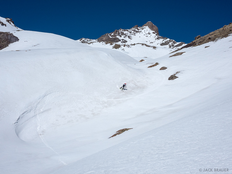 Colorado, San Juan Mountains, Uncompahgre Wilderness, Wetterhorn Peak, skiing