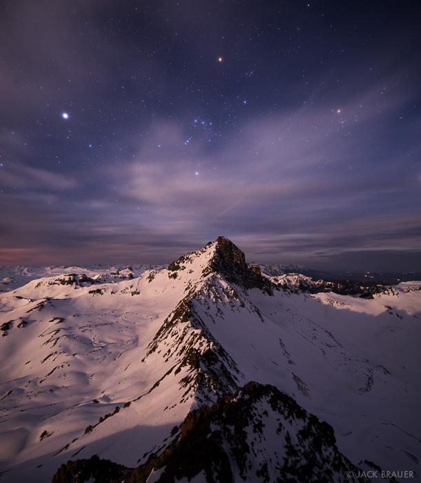 Colorado, San Juan Mountains, Uncompahgre Wilderness, Wetterhorn Peak, Matterhorn Peak, stars, moonlight
