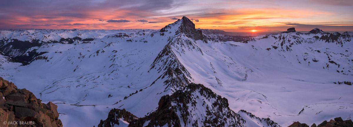 Colorado, San Juan Mountains, Uncompahgre Wilderness, Wetterhorn Peak, Matterhorn Peak, panorama, sunset