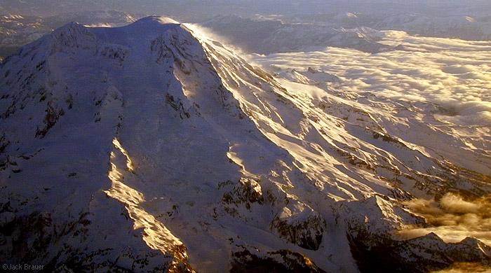 aerial, Mt. Rainier, Seattle, Washington, Cascades, photo