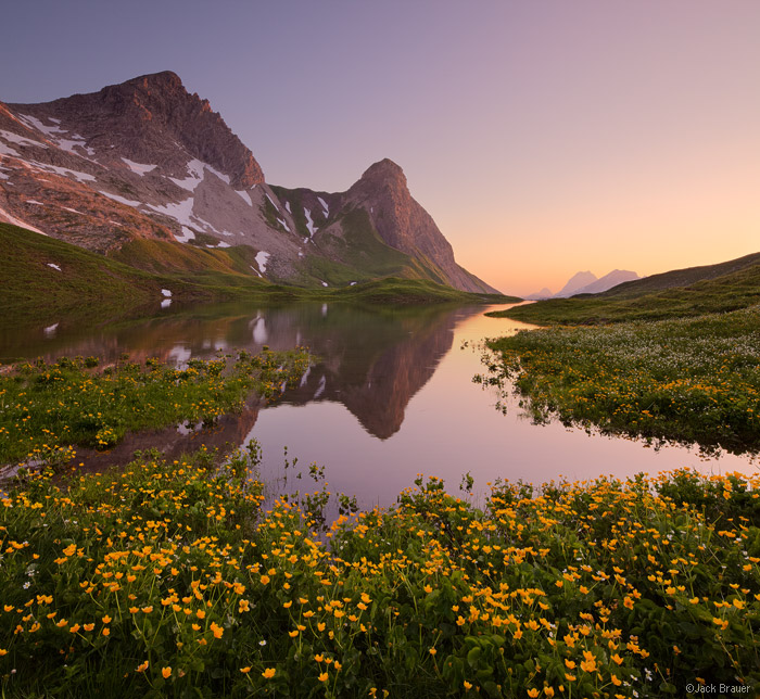 Rappensee, Allgäuer Alps, Germany, wildflowers, sunset, Kleiner Rappenkopf, reflection