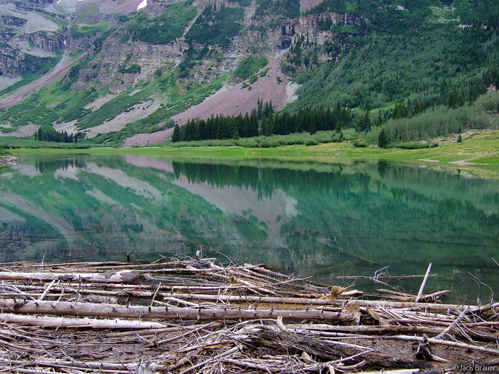 Crater Lake, reflection, Elk Mountains, Colorado, Maroon Bells-Snowmass Wilderness, photo
