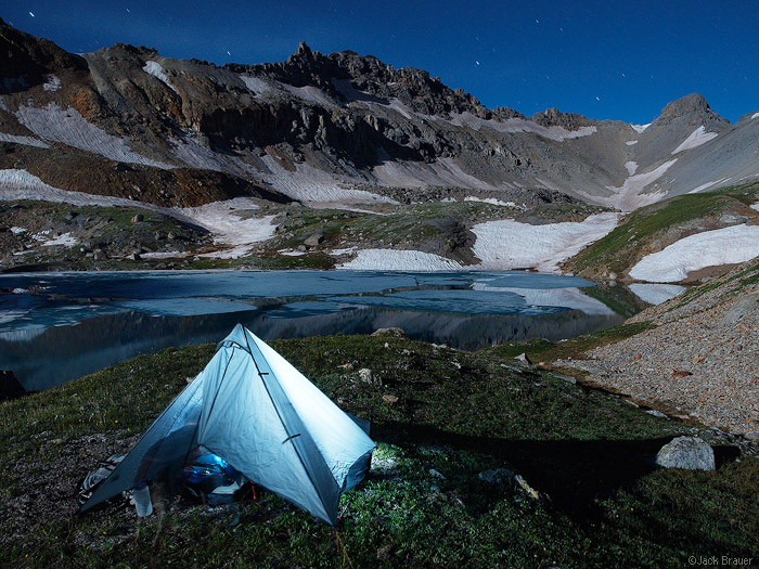 tent, moon, Lookout Peak, Columbine Lake, San Juan Mountains, Colorado, photo