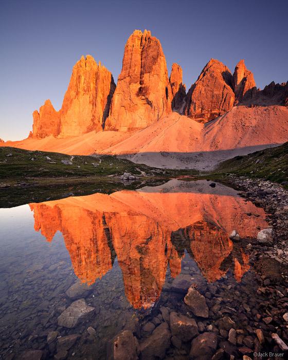 Tre Cime, Lavaredo, Drei Zinnen, enrosadira, Dolomites, Italy, reflection
