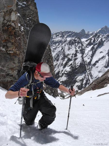Mt. Moran, hiking, couloir, Tetons, Wyoming, photo