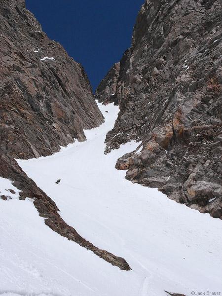 Southwest couloir, Mt. Moran, Tetons, Wyoming, snowboarding, photo