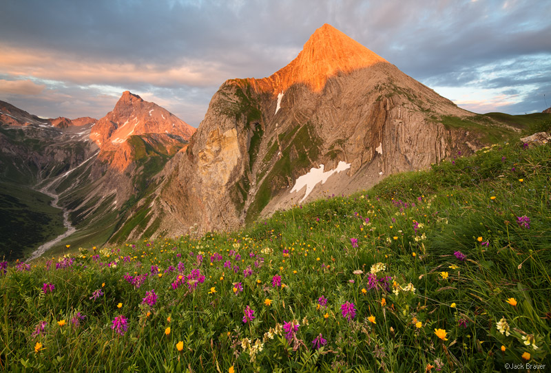 Lechtal Alps, Austria. Kaiserjochhaus, Grießkopf, sunset
