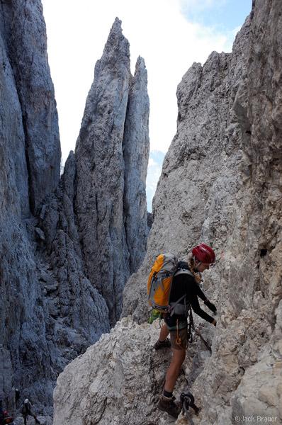 Dolomites, Italy, Rosengarten, via ferrata