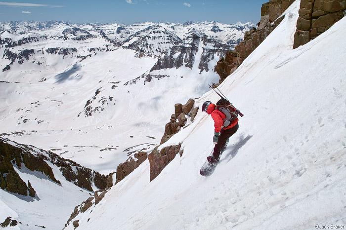Mt. Sneffels, snowboarding, San Juan Mountains, Colorado, photo