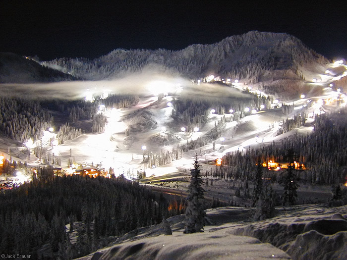 night skiing, fullmoon, Stevens Pass, Washington, Cascades