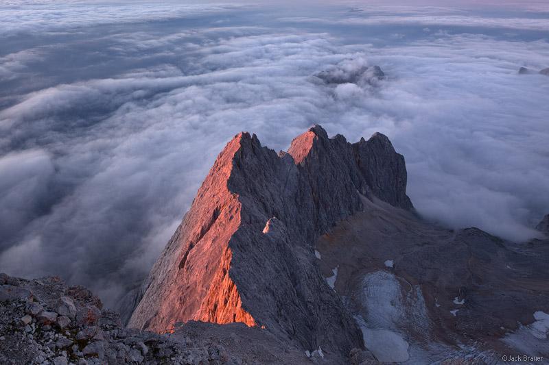 Zugspitze, Wettersteingebirge, Germany, sunset, clouds