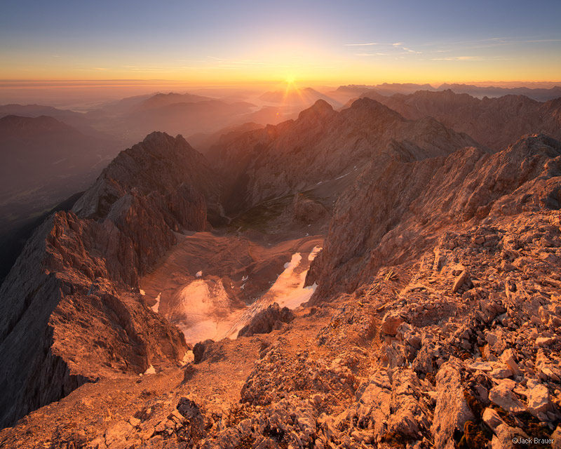 Zugspitze, Wettersteingebirge, Germany, sunrise, summit