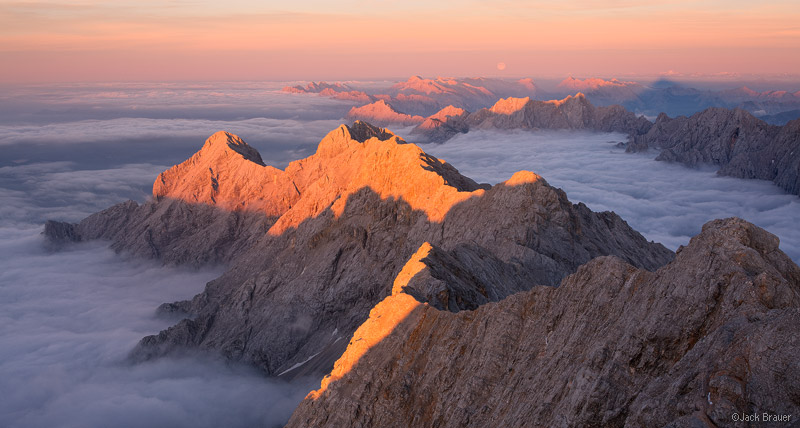Zugspitze, Wettersteingebirge, Germany, summit, sunset, panorama