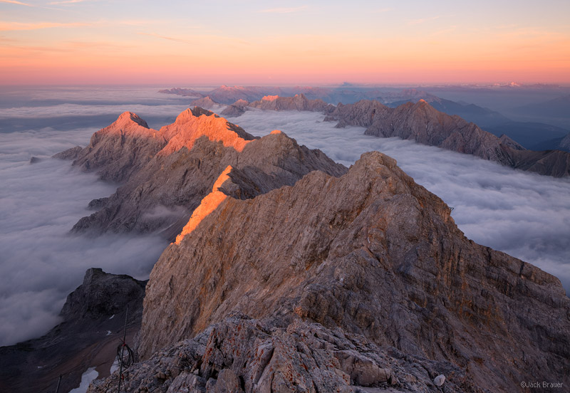 Zugspitze, Wettersteingebirge, Germany, summit, sunset