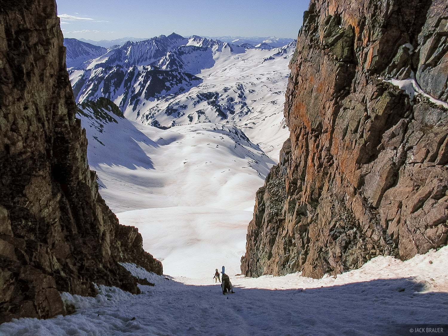 hiking up an enormous chute on Castle Peak, a fourteener in the Elk Mountains - May