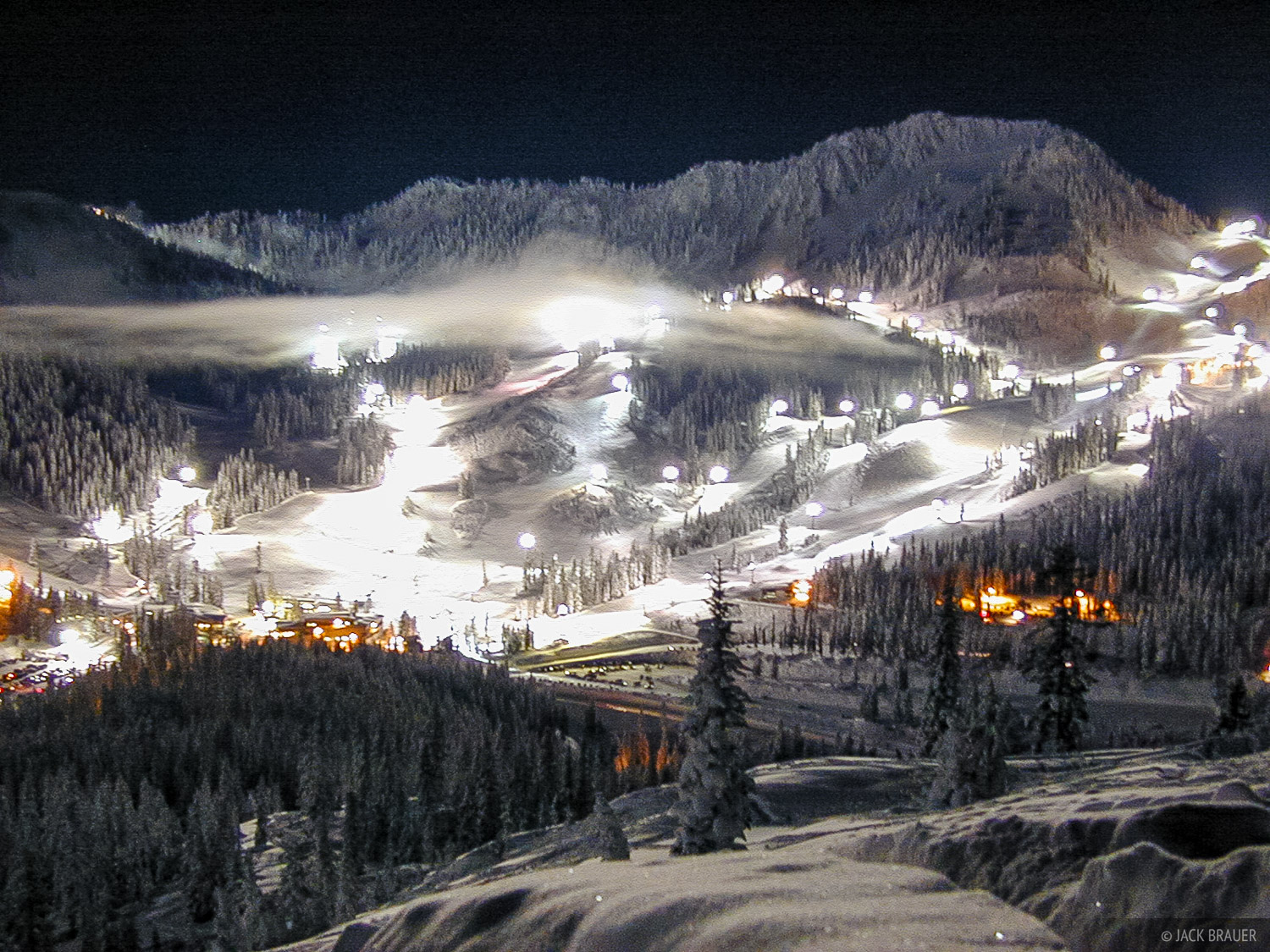 the night skiing lights at Stevens Pass on a fullmoon night - January