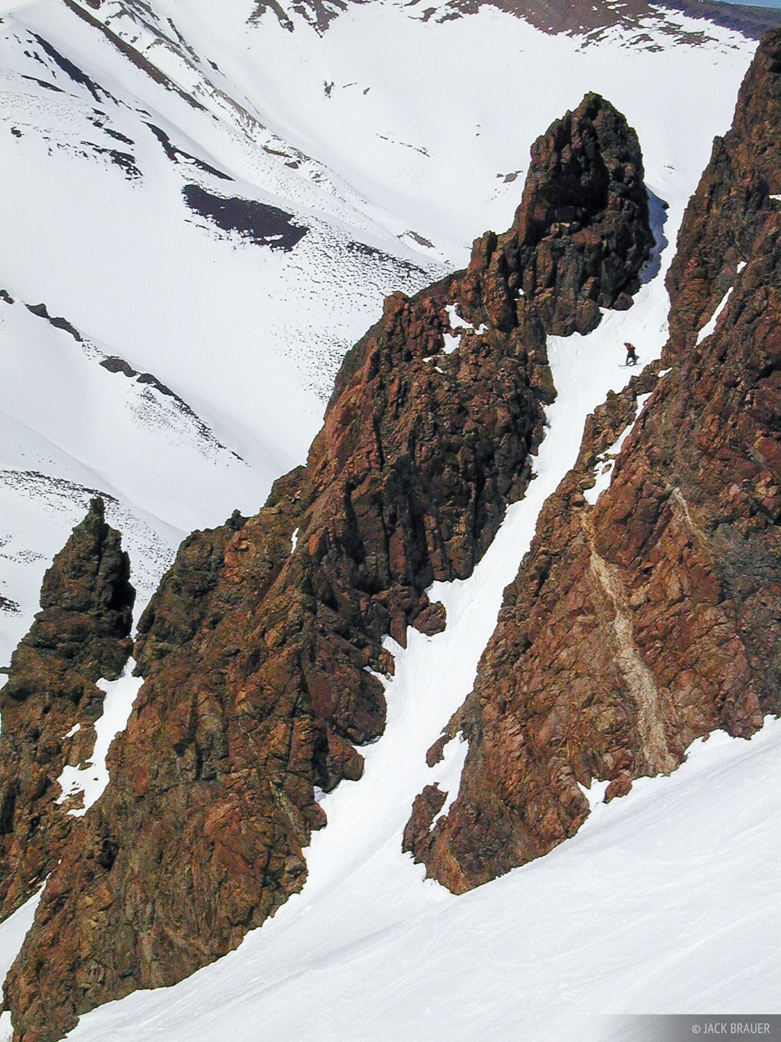 narrow chute, Argentina, snowboarding, Las Leñas, photo