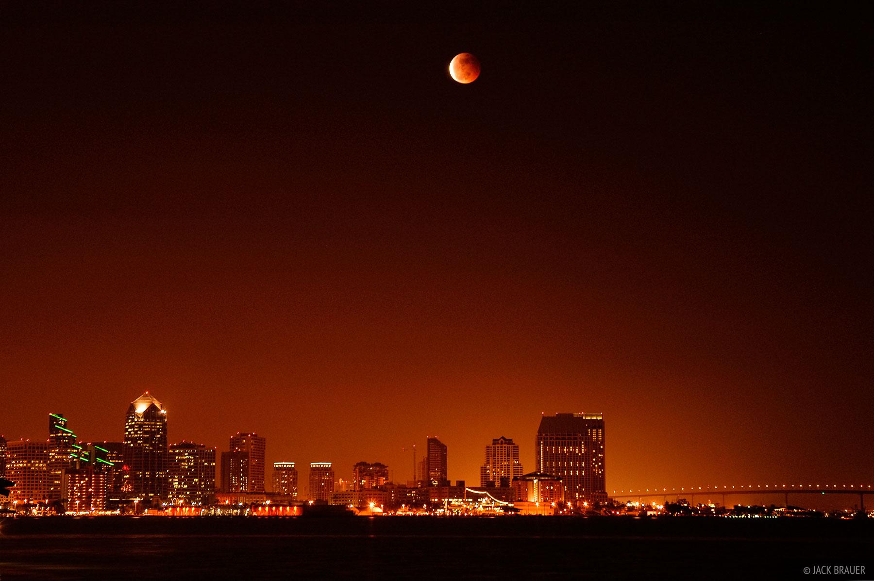 lunar eclipse, downtown, San Diego, California, photo
