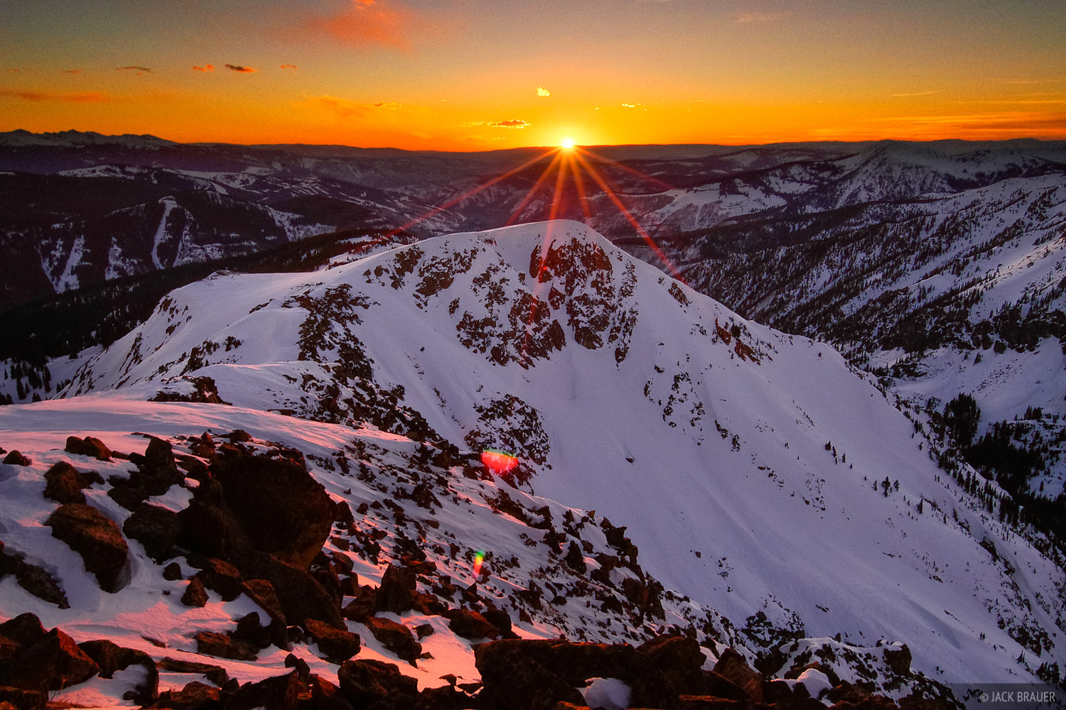 Vail, sunset, Gore Range, Colorado, photo
