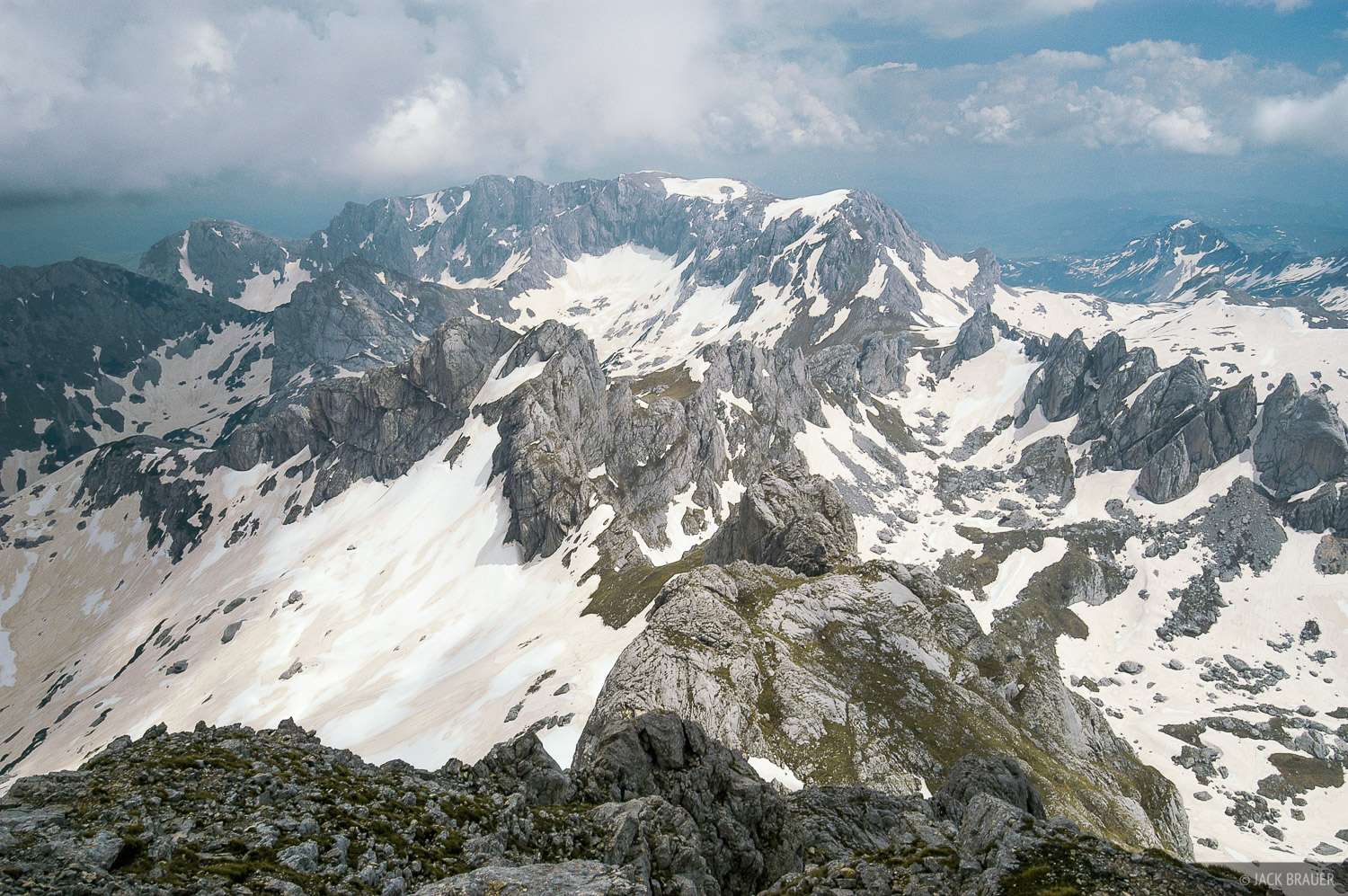 View east from summit of Bobotov Kuk, the tallest mountain in the Durmitor range at 2523 m - June.