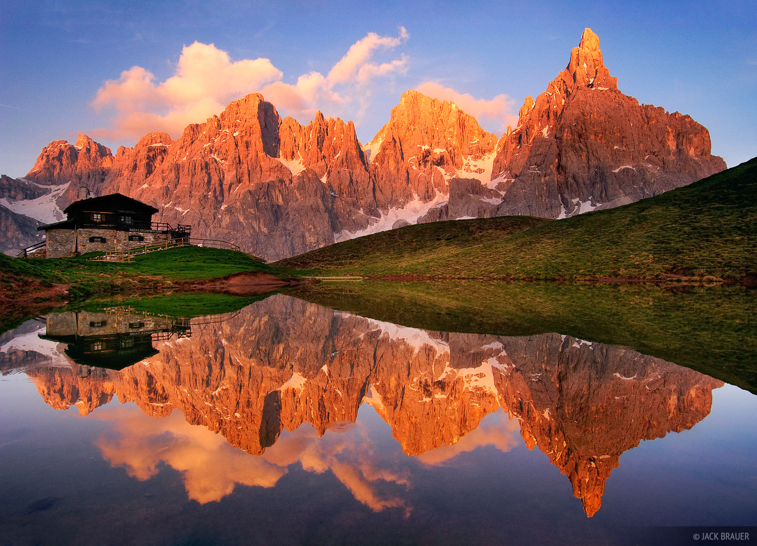 Baita Segantini, reflection, San Martino, Dolomites, Italy, photo
