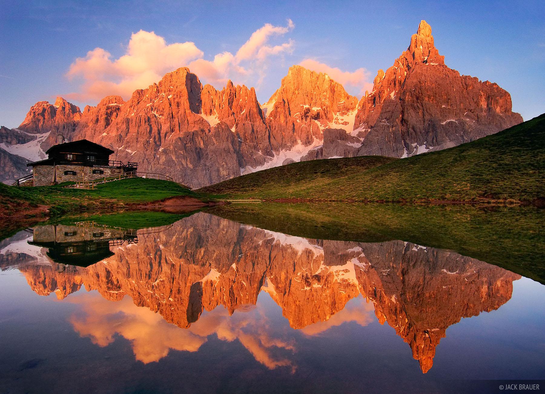 Baita Segantini, reflection, San Martino, Dolomites, Italy, photo