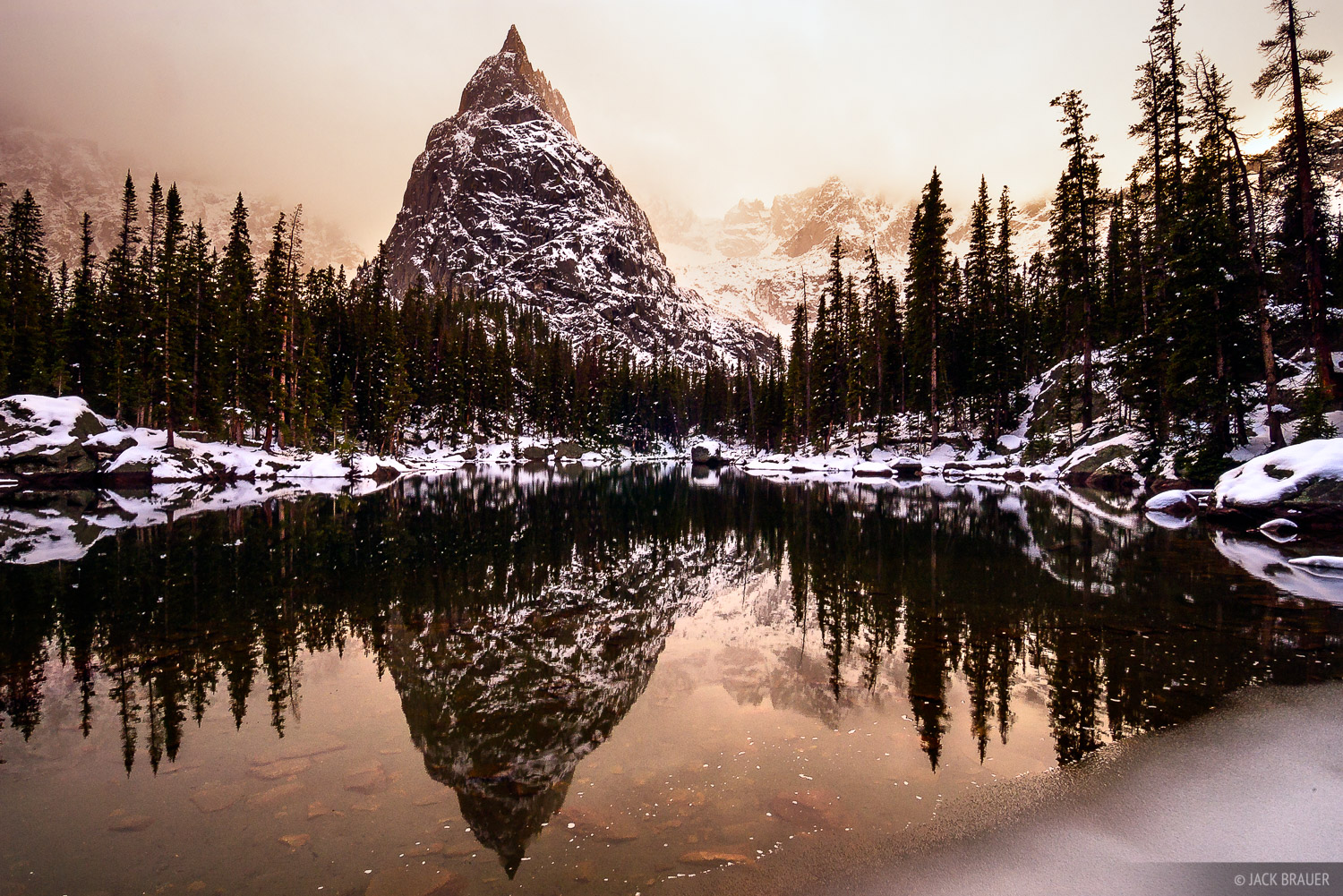 Lone Eagle Peak, reflection, Indian Peaks, Colorado, photo