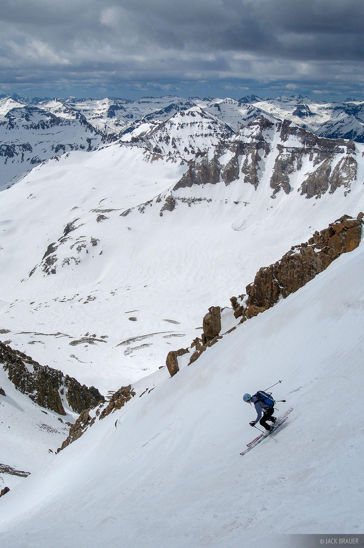 skiing, Mt. Sneffels, Lavendar Col, San Juans, Colorado, 14er, June, spring, backcountry, photo