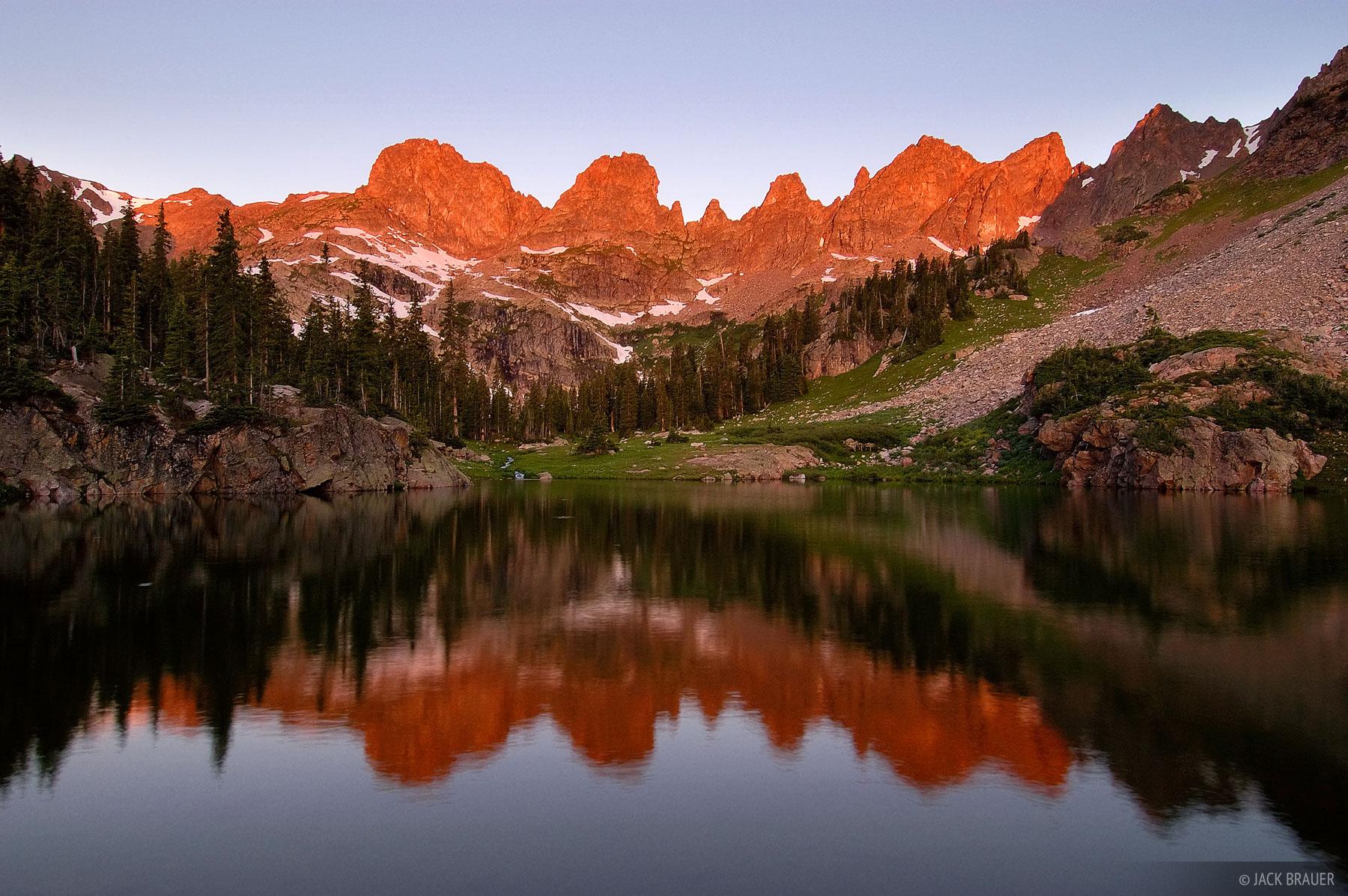 alpenglow, Willow Lakes, Eagles Nest Wilderness, Gore Range, Colorado, photo