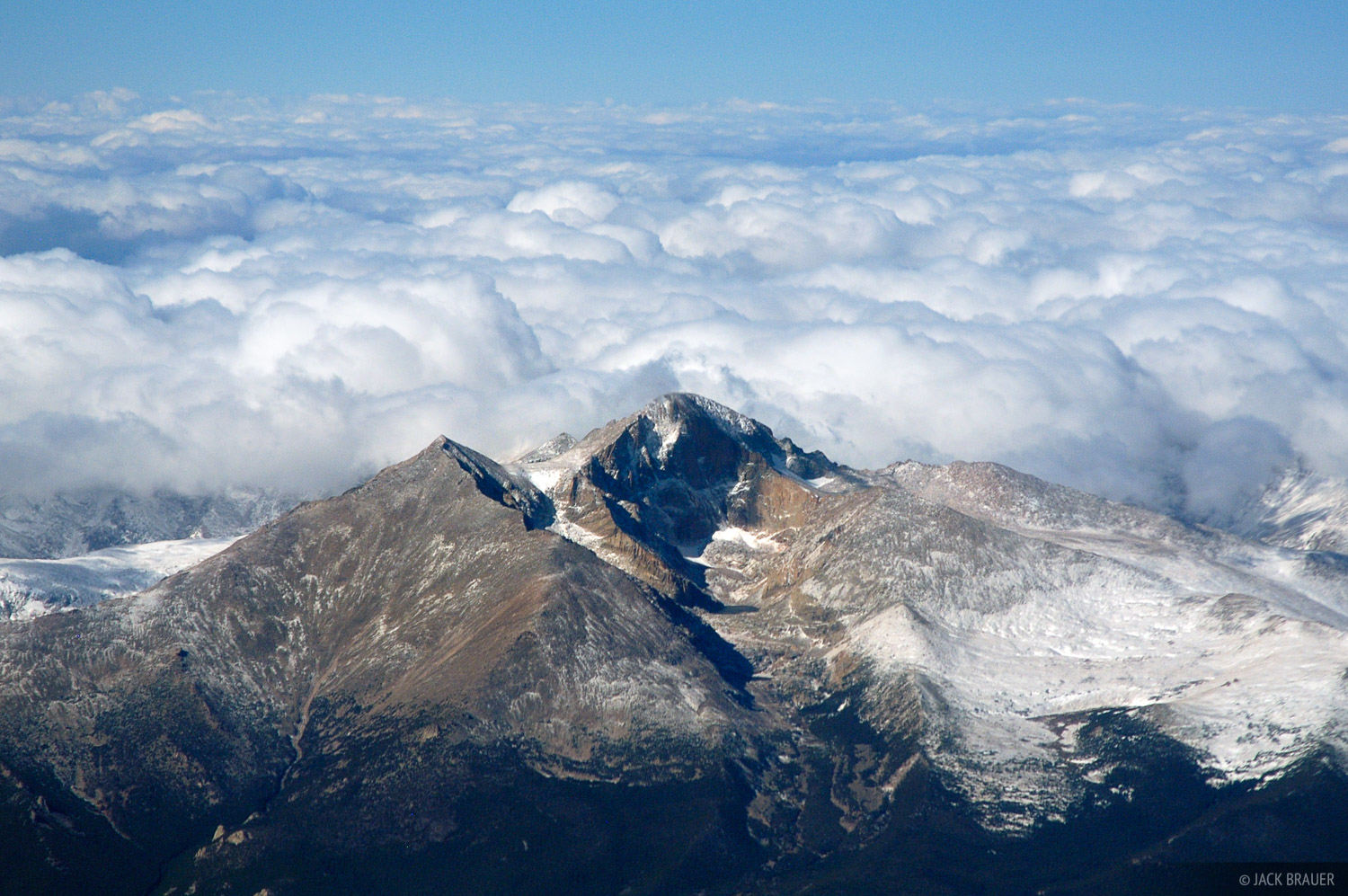 Longs Peak, aerial, Rocky Mountain National Park, Colorado, photo