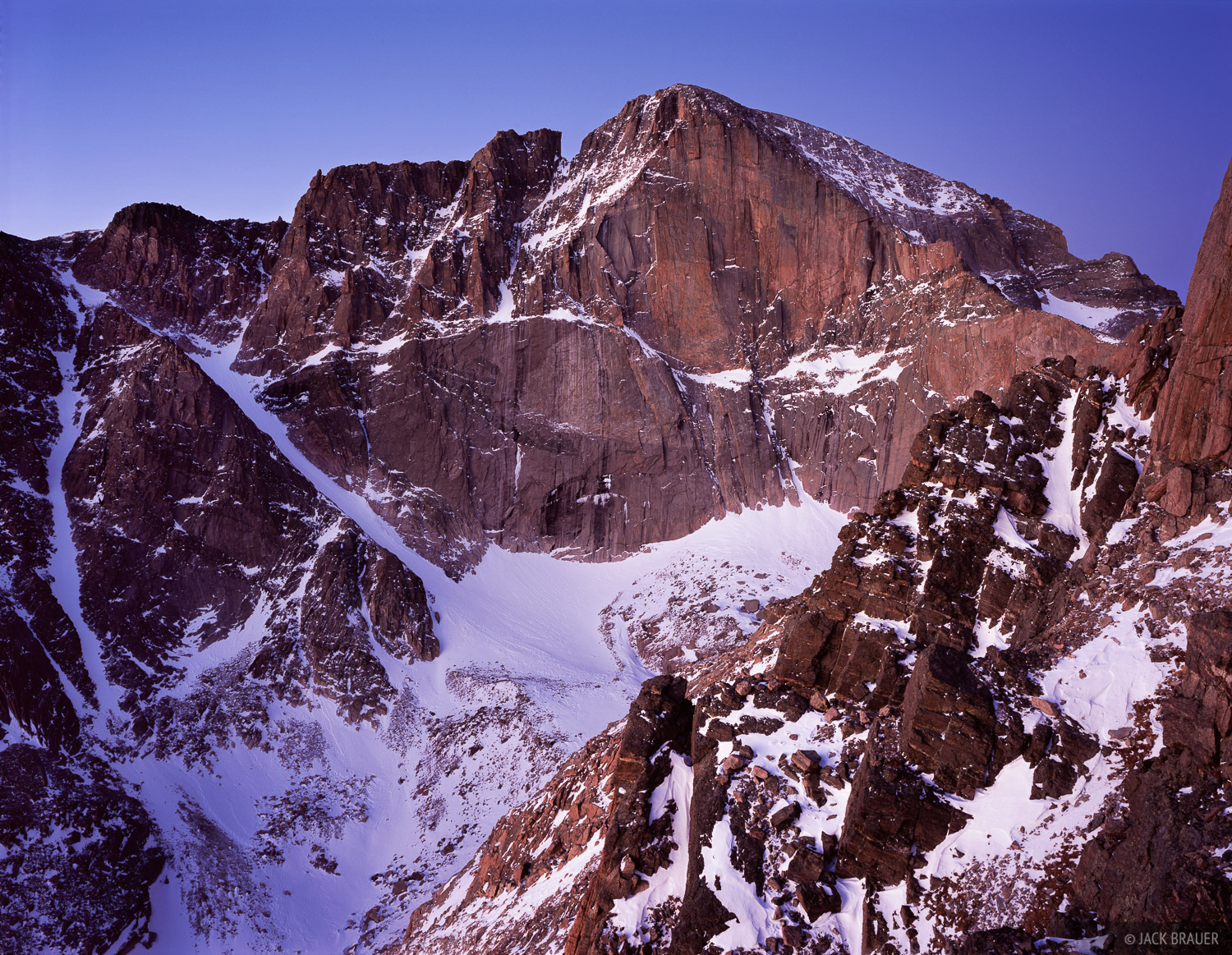 dawn light on The Diamond of Longs Peak, 14261 feet, as seen from Mt. Lady Washington - December