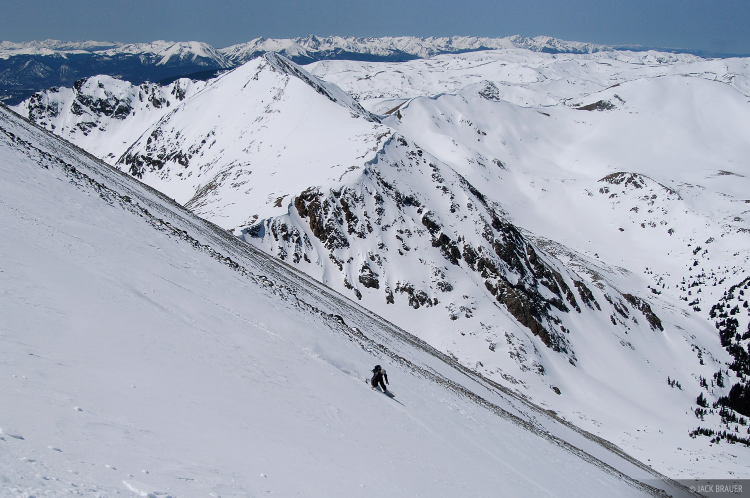 Jason King makes a high-speed carve during the 3000-foot descent of Torreys  Peak's Northwest Couloir - April
