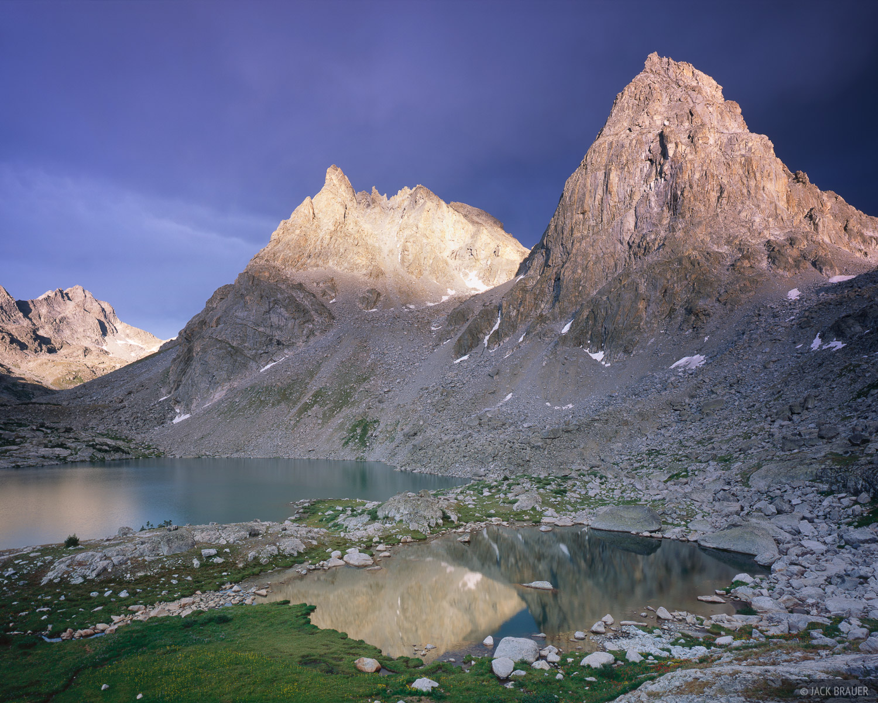 early sunset light on Sulphur Peak (left, 12,826 ft.) and Stroud Peak (right, 12,198 ft.) at Peak Lake - July