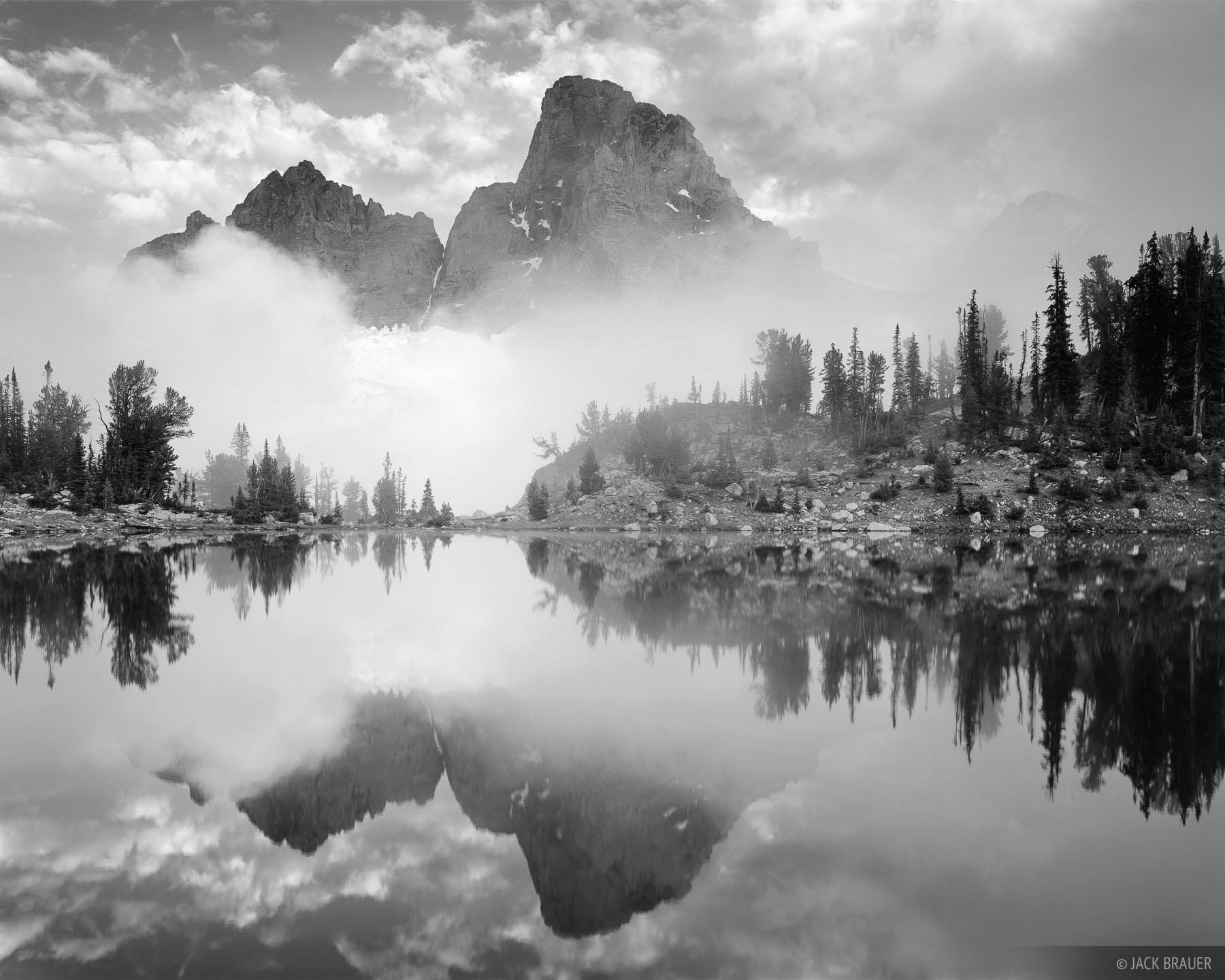 Misty Teton Reflection B W Tetons Wyoming Mountain