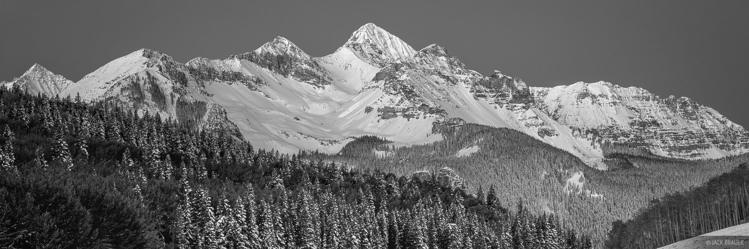 Colorado, San Juan Mountains, Wilson Peak, 14er, bw, September, panorama, photo