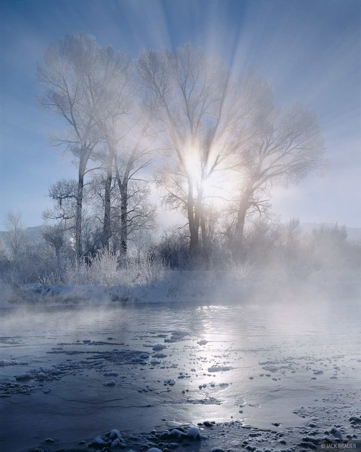 Uncompahgre River, winter sunrise, Ridgway, Colorado, photo