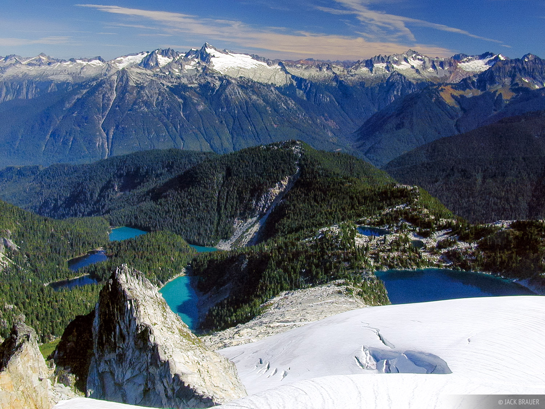 alpine lakes below Snowking Mtn. - Eldorado Peak and the  North Cascades National Park in the distance - September