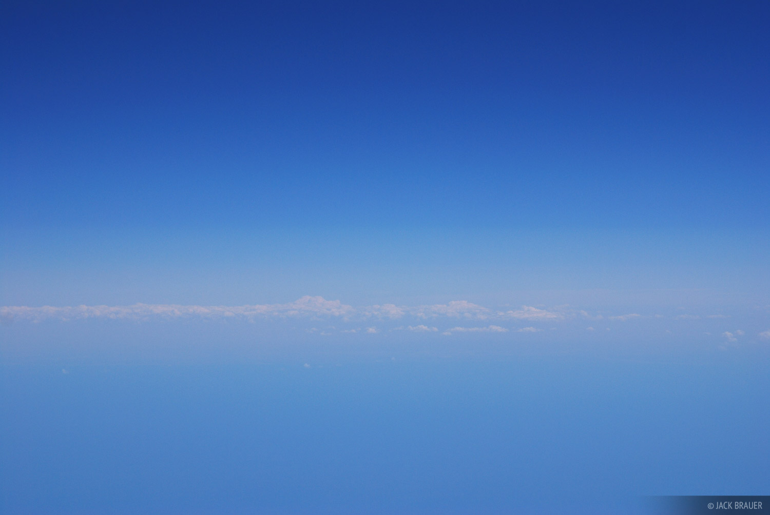 Blue sky above the Gulf of California as seen from an airliner