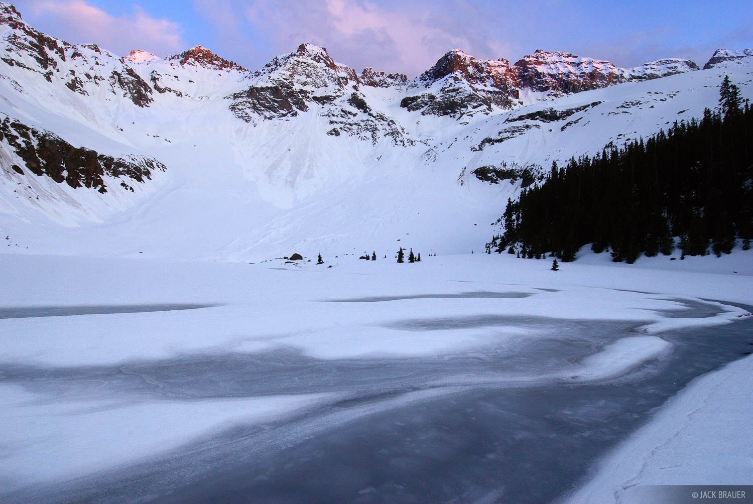 Sunset at the Lower Blue Lake in the Sneffels Range in May.