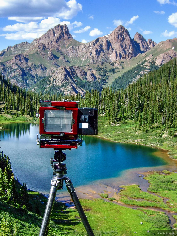 Tachihara large format 4x5 camera in the Weminuche Wilderness, Colorado.