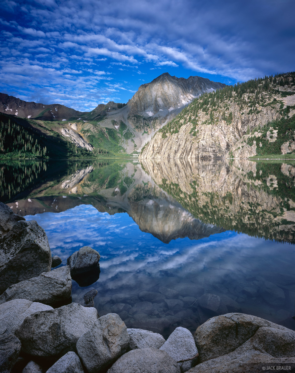 Morning reflection of Snowmass Peak in Snowmass Lake - July