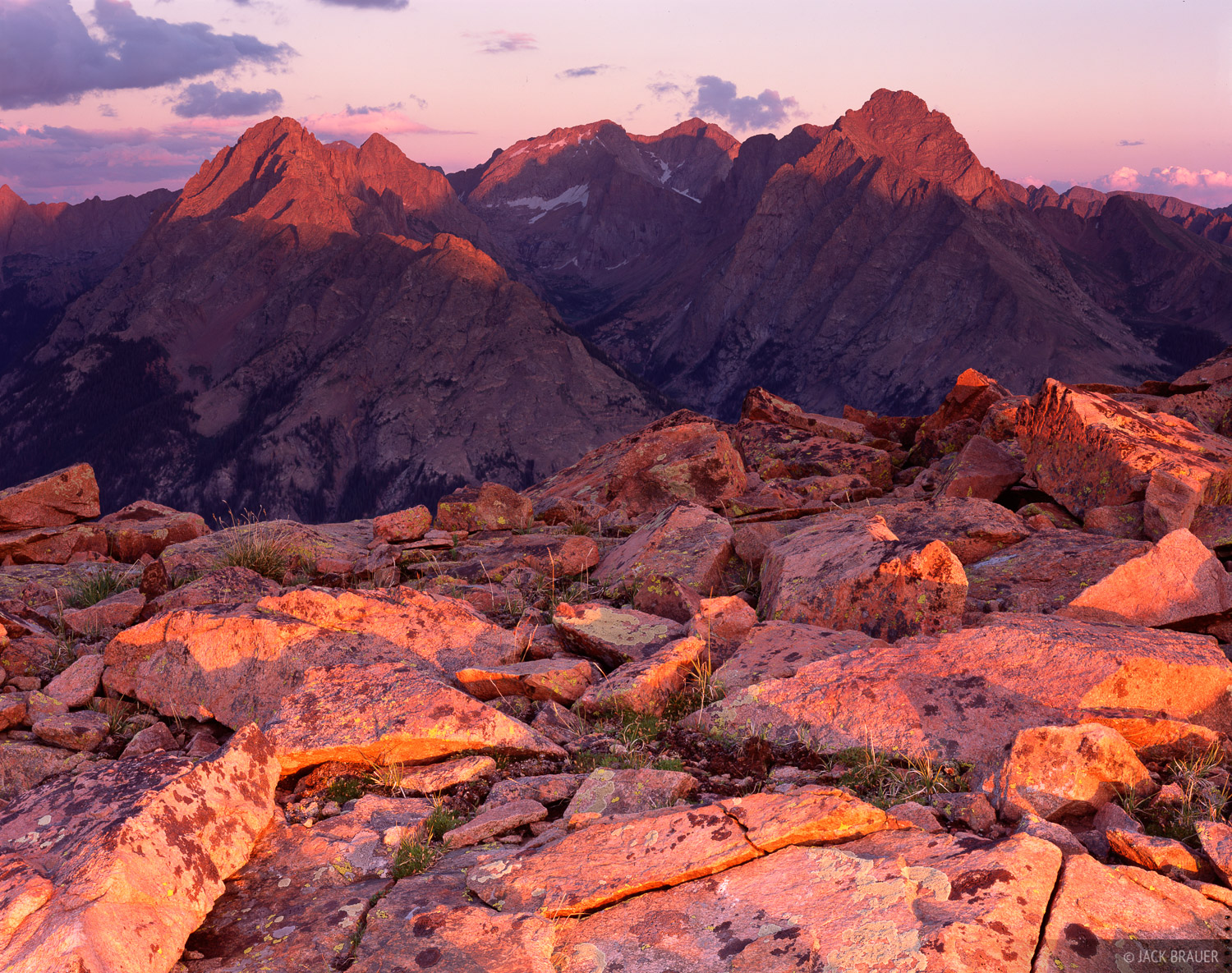 Needle Mountains, Alpenglow, San Juans, Colorado, photo