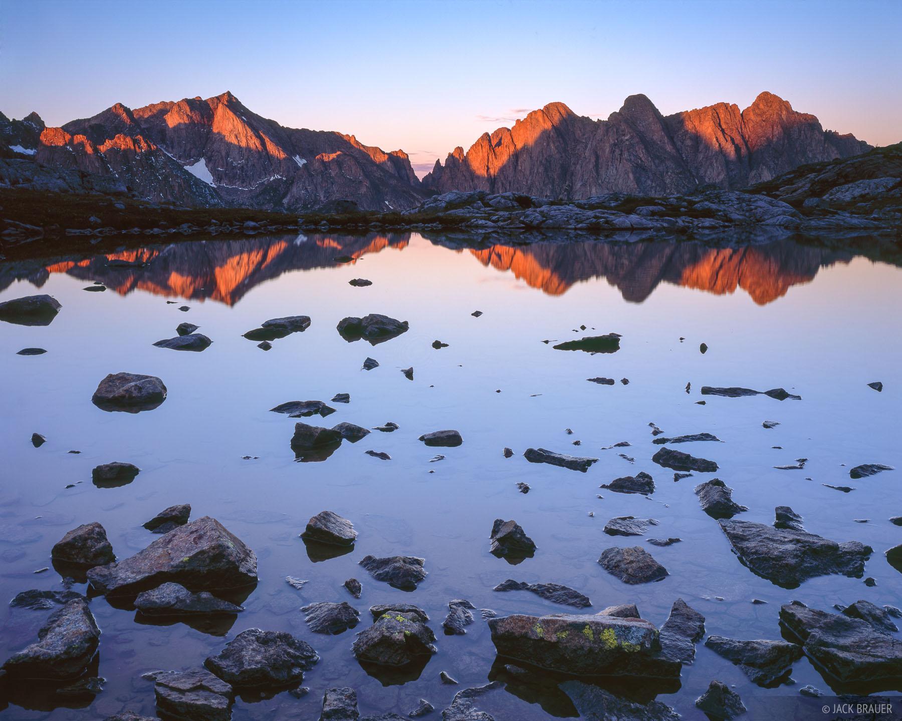 Sunrise light on Mt. Eolus and the Needle Mountains - September.