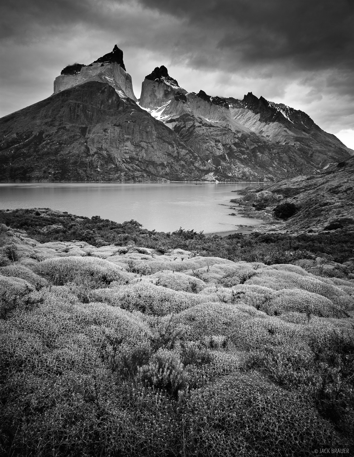 Cuernos del Paine rise more than 8,000 feet straight above Lago Nordenskjold in Torres del Paine National Park, Chile - December...