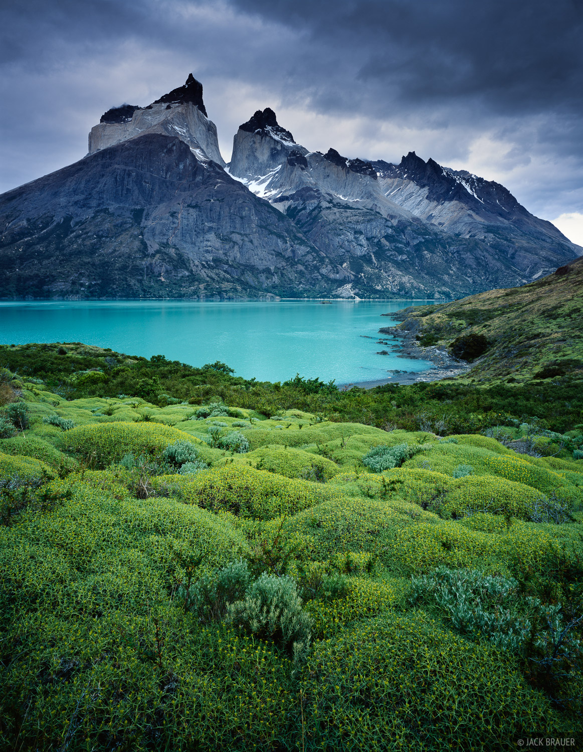 Cuernos del Paine rise more than 8,000 vertical feet straight above Lago Nordenskjold in Torres del Paine National Park, Chile.