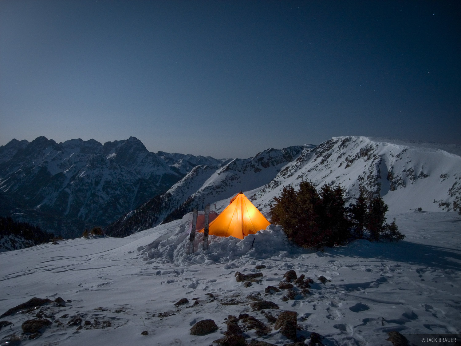 Winter Camping, Full moon, Illuminated Tent, Colorado, photo