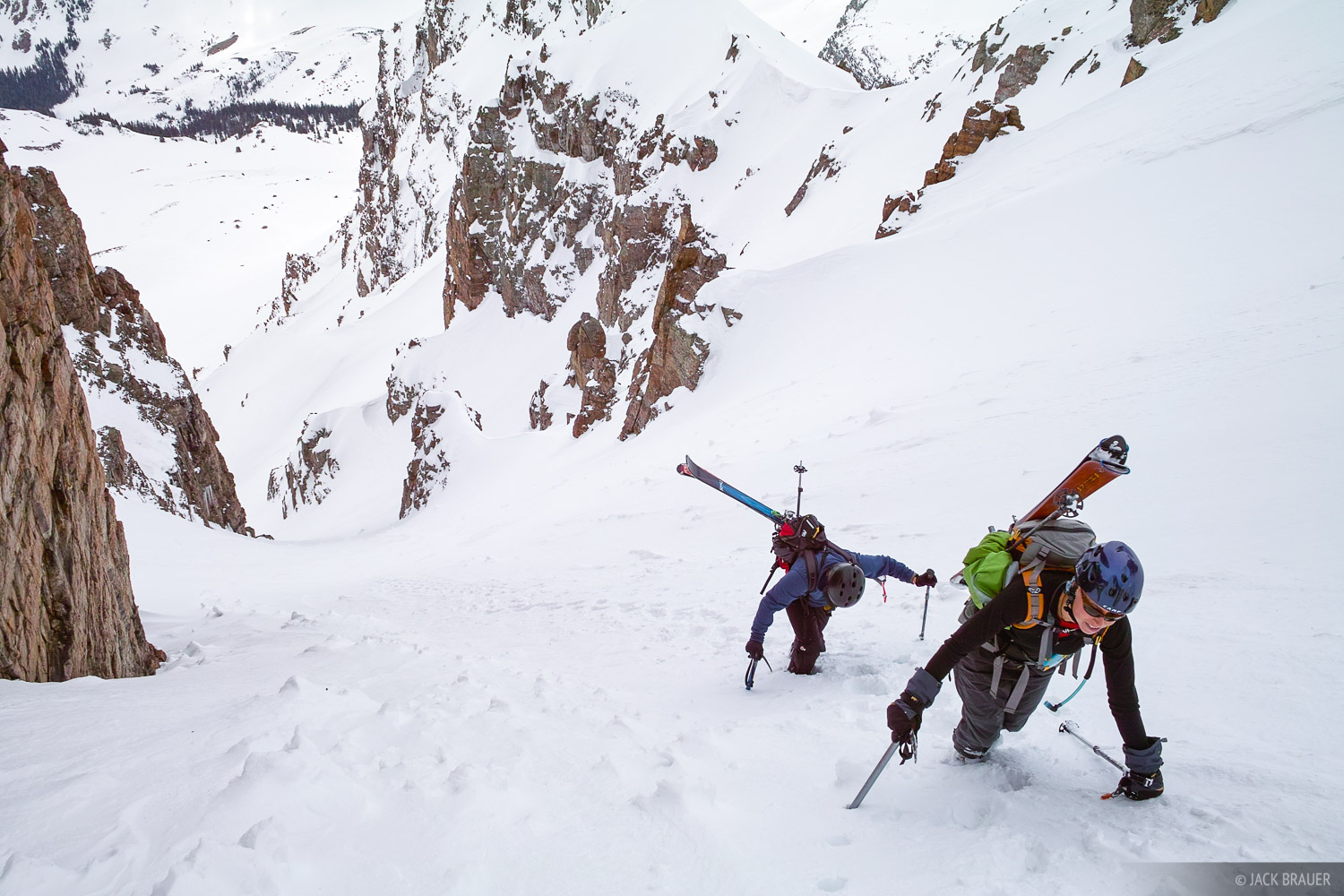 Hiking up the Pearl Couloir on Cathedral Peak - May. More photos and trip report here.