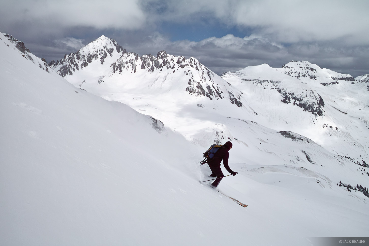 Jeff Skoloda skis some late May powder in Yankee Boy Basin with Mt. Sneffels behind.  See the trip report here, along with more...