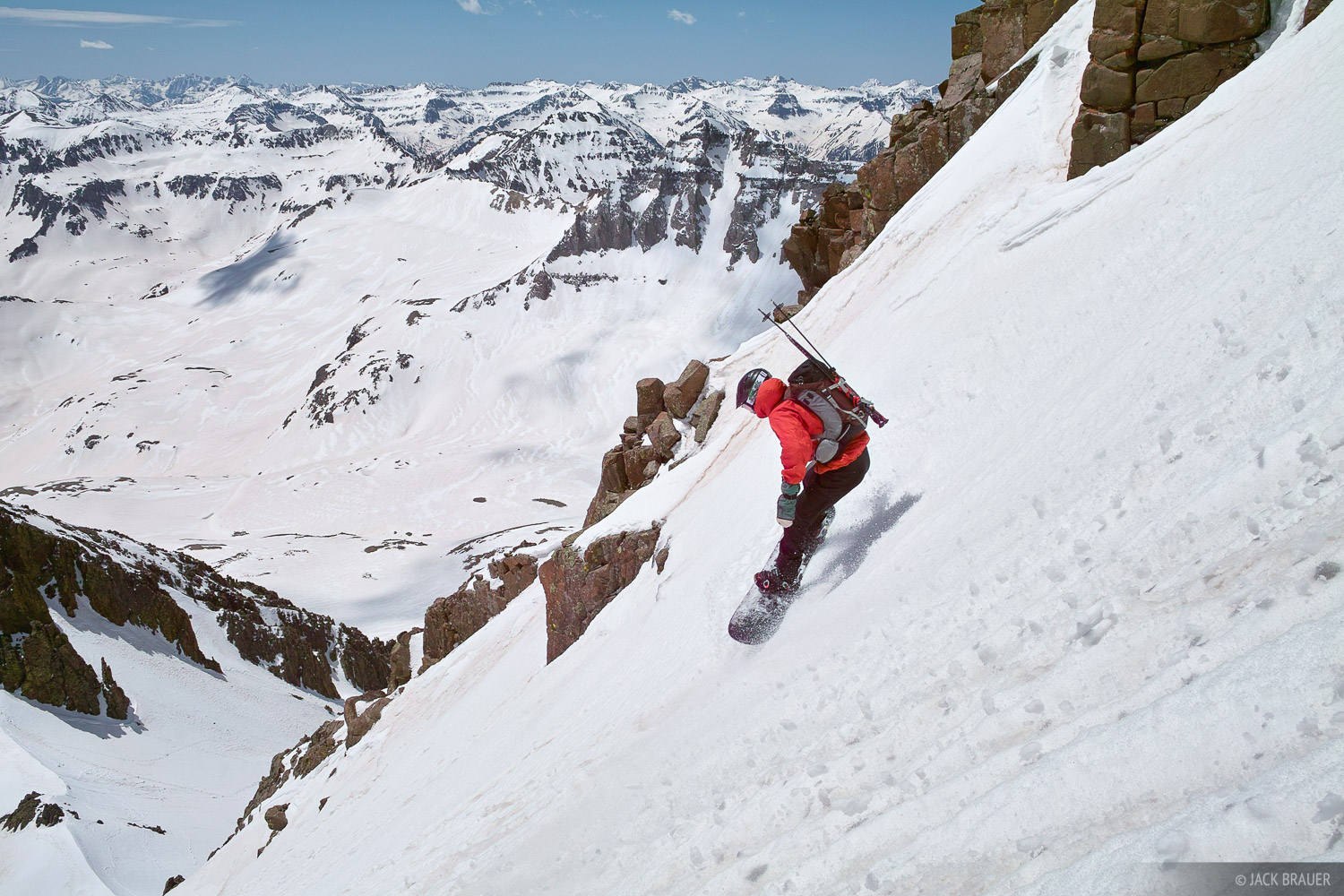 Parker McAbery snowboards down Mt. Sneffels - late May.  Check out a few more pictures at the trip report.